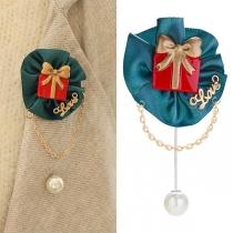 Broche Chic Stylée à la Mode avec un Pendentif de Perle