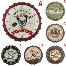 Retro Style Beer Bottle Cap Shape Wall Clock