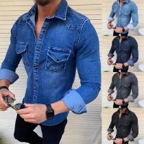 Chemise Stylée à la Mode au Col Polo à Manches Longues en Jean