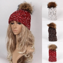 Fashion Mixed Color Hairball Spliced Knit Beanies