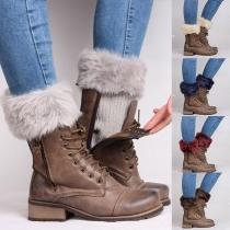 Fashion Faux Fur Spliced Knit Leg Warmers