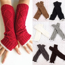 Fashion Lace Spliced Fingerless Knit Long Gloves