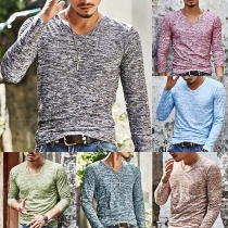 Fashion Long Sleeve V-neck Mixed Color Man's T-shirt