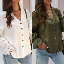 Fashion Lace Spliced Long Sleeve V-neck Solid Color Blouse