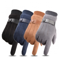 Fashion Solid Color Plush Lining Touch Sensitive Gloves