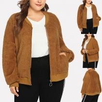 Fashion Solid Color Long Sleeve Plus-size Plush Jacket