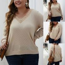 Fashion Solid Color Lace Spliced V-neck Plus-size Knit Top