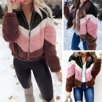 Fashion Contrast Color Long Sleeve Stand Collar Plush Jacket