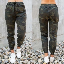 Casual Style Elastic Waist Camouflage Printed Pants