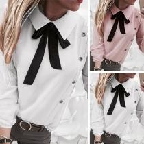 Blouse Douce Stylée à la Mode à Manches Longues avec une Cravate de Nœud Papillon(Taille Petite)