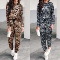 Deux-Pièces Stylé à la Mode à Imprimés de Léopard : Pull à Manches Longues+Pantalon