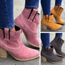 Boots Doux Stylés à la Mode à Talons Hauts