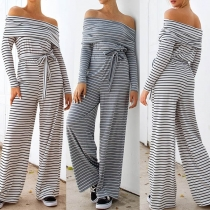 Sexy Off-shoulder Boat Neck Long Sleeve High Waist Striped Jumpsuit