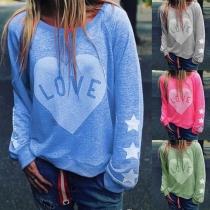 Tee-Shirt Doux Stylé à la Mode à Imprimés de Cœur à Manches Longues