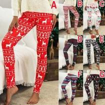 Leggings de Noël Doux Stylé à la Mode à la Taille Haute à Imprimés