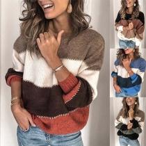 Sweater/Pull Doux Stylé à la Mode en Couleur Contrastée à Manches Longues en Tricot(Taille Petite)