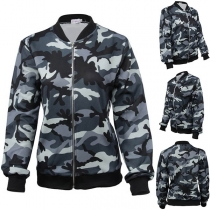 Fashion Camouflage Printed Long Sleeve Stand Collar Jacket
