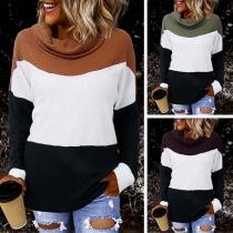 Sweater Doux Stylé à la Mode au Col Cagoule en Couleur Contrastée à Manches Longues