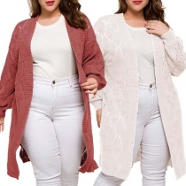 Fashion Solid Color Long Sleeve Hollow Out Plus-size Knit Cardigan