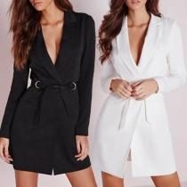Robe Elégante à la Mode à Revers à Manches Longues Froncée à la Taille