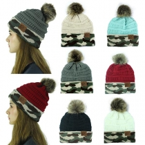 Fashion Camouflage Printed Hairball Spliced Knit Beanies