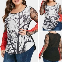 Sexy Lace Spliced Long Sleeve Round Neck Plus-size Printed T-shirt