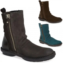 Retro Style Flat Heel Round Toe Side-zipper Boots Booties