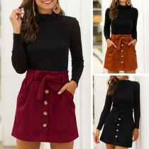 Fashion Solid Color High Waist Front-button Skirt