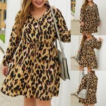 MODE GRANDE TAILLE---Robe Elégante à la Mode Sexy Encolure V à Imprimés de Léopard