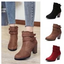 Boots Stylés à la Mode à Talons Hauts avec les Boucles