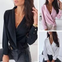 Blouse/Tee-Shirt Doux Stylé à la Mode Sexy Encolure V avec un Nœud Devant