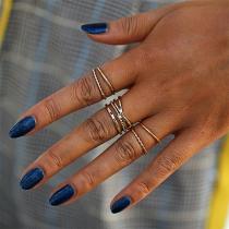 Simple Style Rhinestone Inlaid Alloy Ring Set 5 pcs/Set