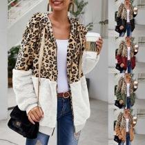 Veste de Pull Douce Stylée à la Mode à Capuche à Imprimés de Léopard