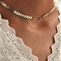 Collier Écailles de Poisson Pendentif en Forme de Coeur