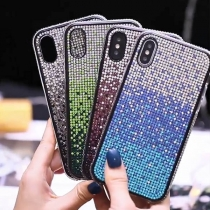 Fashion Rhinestone Inlaid Color Gradient Phone Case for iPhone HUAWEI