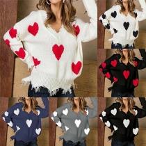 Sweater Doux à la Mode Encolure V à Manches Longues à Imprimés des Cœurs