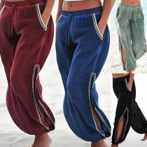 Fashion Elastic Waist Slit Lantern Pants