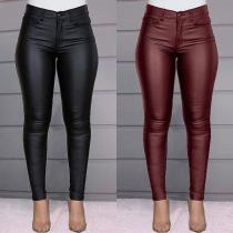 Pantalon Moulant Stylé à la Mode à la Taille Haute en Faux Cuir
