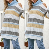 Sexy Off-shoulder Long Sleeve Turtleneck Striped Sweater