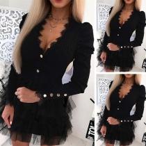 Robe Noire Douce Elégante à la Mode Sexy Encolure V avec un Design en Gaze à Volants