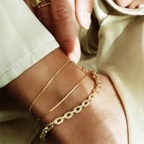 Simple Style Gold-tone Alloy Bracelet Set 3 pcs/Set