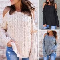 Sweater Doux à la Mode Sexy Epaules Dénudées à Manches Longues en Tricot