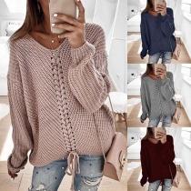 Sweater Doux Stylé à la Mode Encolure V à Manches Longues avec un Design à Lacets Devant