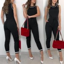 Combinaison Stylée à la Mode en Couleur Contrastée Sans Manches à la Taille Haute