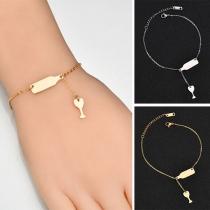 Bracelet Chic Stylé à la Mode avec un Pendentif de Bouteille&Verre