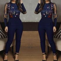 Combinaison Stylée à la Mode Sexy à la Taille Haute à Manches Longues Brodées avec un Design en Gaze
