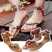 Sandales à Talons Plats Stylées Douces à la Mode Bohémien-Style à Imprimés avec un Design à Lacets