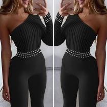 Combinaison Stylée à la Mode Sexy Epaule-Oblique à la Taille Haute avec les Perles