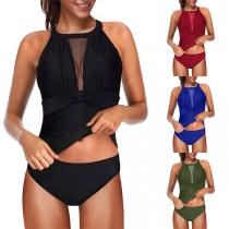 Maillot de Bain Deux-Pièces Chic à la Mode Sexy Rembourré Dos Nu avec un Design en Gaze