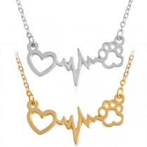 Collier Style Chic aves Pendentif á Forme de Électrocardiogramme et Coeur Ajouré
